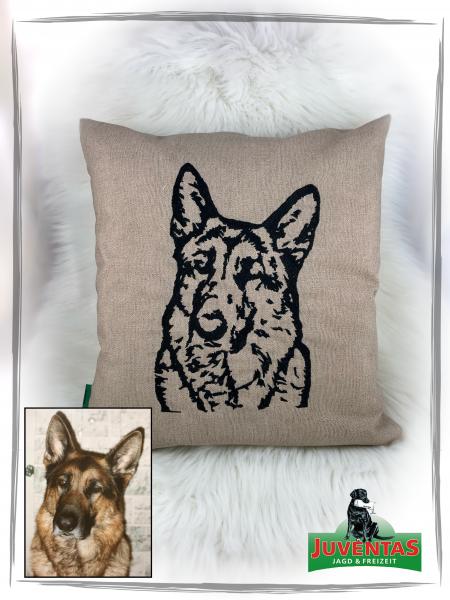 Dekokissen 40x40 cm mit der Silohuette des Kopfes deines Hundes