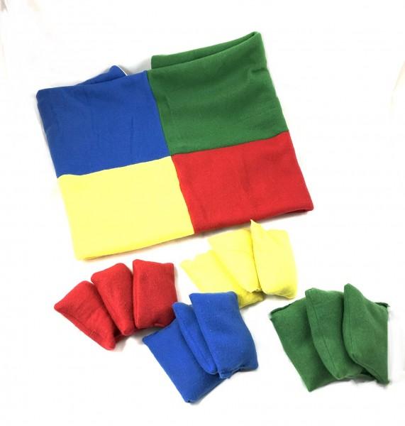Farbspiele-Decke mit Wurfsäckchen